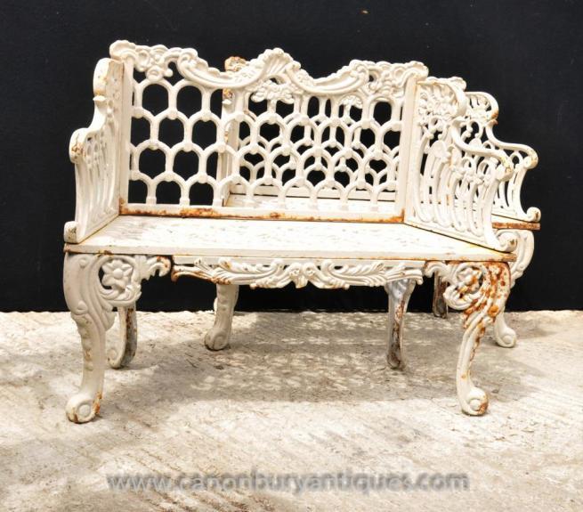 Pair Cast Iron Coalbrookdale Horseshoe Garden Benches Seats Bench