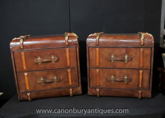 Pair English Leather Bedside Chests Steamer Trunk Cabinets Nightstands