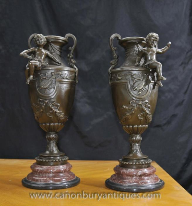 Pair French Bronze Cherub Amphora Urns Signed Signed S.Fondeurs