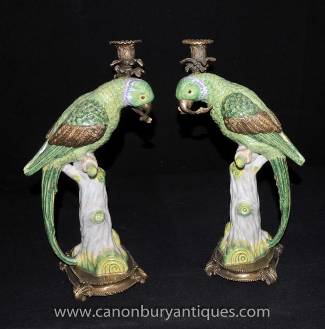 Pair French Parrot Candelabras Porcleain and Ormolu Candles