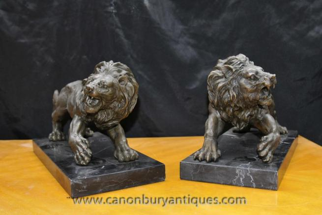 Pair Italian Bronze Lions Lion Gatekeeper Statue