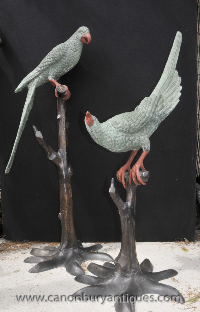 Pair Lifesize Bronze Tropical Parrot Statues Bird Branch Casting