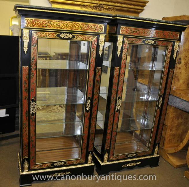 Pair Louis XV Boulle Inlay Glass Display Cabinets Bookcase Bijouterie