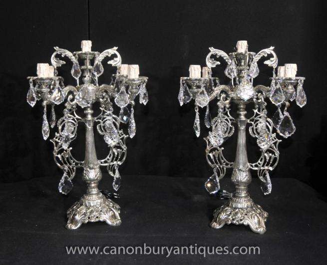 Pair Victorian Silver Plate Candelabras Table Lamps Chandeliers Light