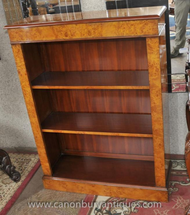 Regency Open Front Bookcase in Walnut Bookcases