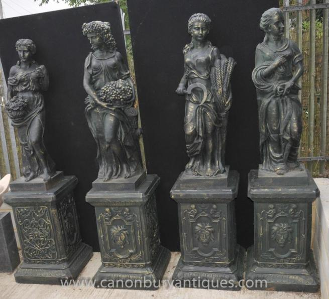 Set 4 XL French Four Seasons Female Maidens Statues on Pedestals
