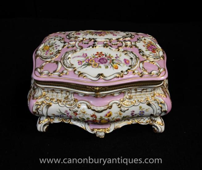 Sevres Porcelain Jewellery Casket Box Case Floral Pottery