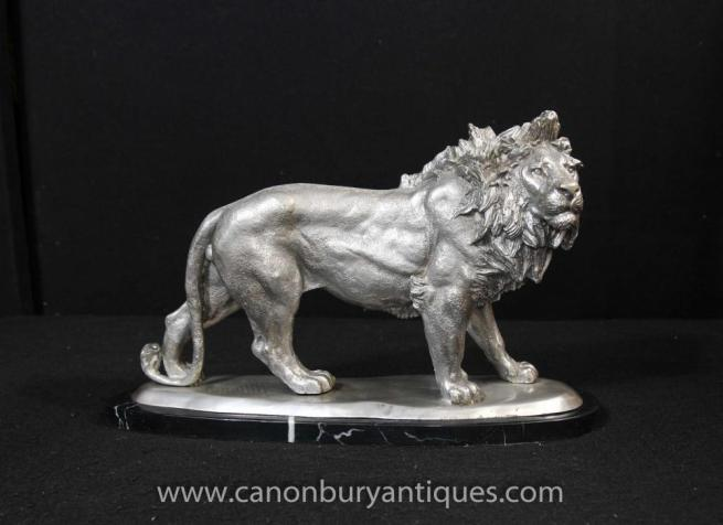 Silver Bronze Lion Statue Cats Animals Castings