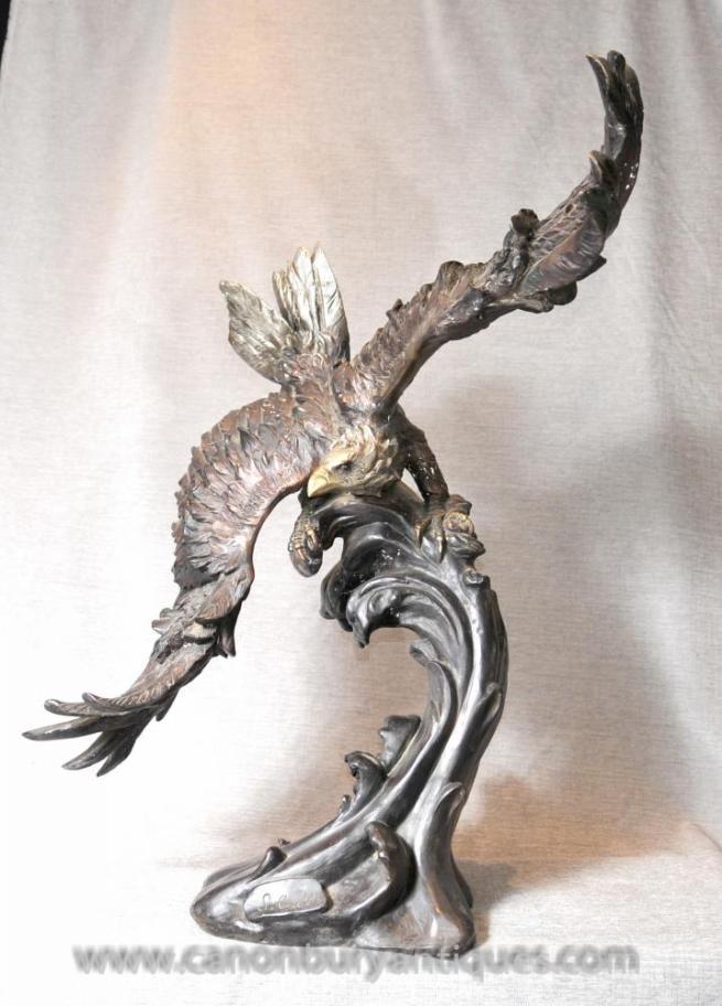 3 ft Bronze Eagle Statue Signed American Eagles Bird Prey