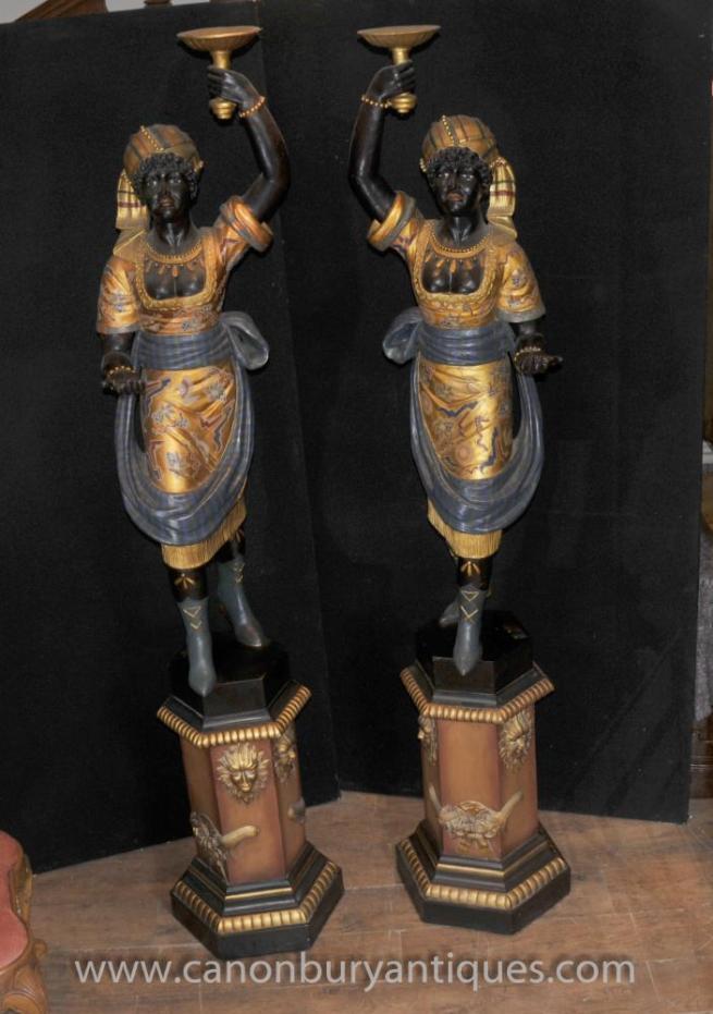 8 ft Italian Venetian Blackamoor Torcheres Moors Statue