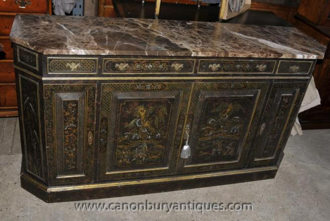 Antique French Black Lacquer Commode Sideboard Chest with Chinoiserie