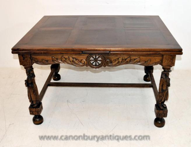 Antique French Provincial Extending Oak Dining Table Carved Legs Refectory Tables