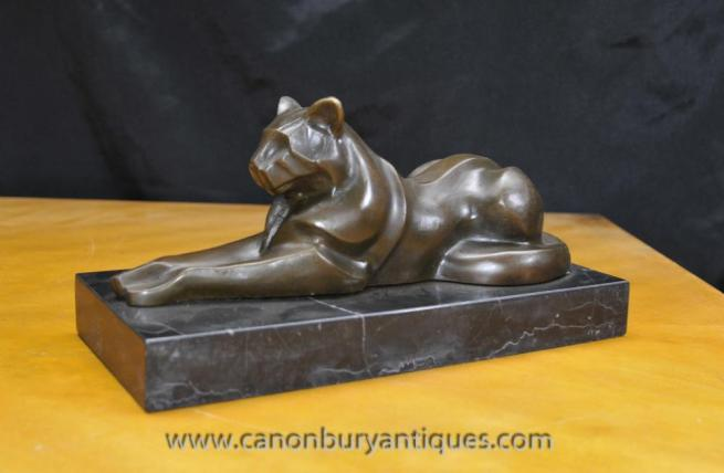 Art Deco Bronze Cat Panther Puma Statue by Milo Cubist Cheetah