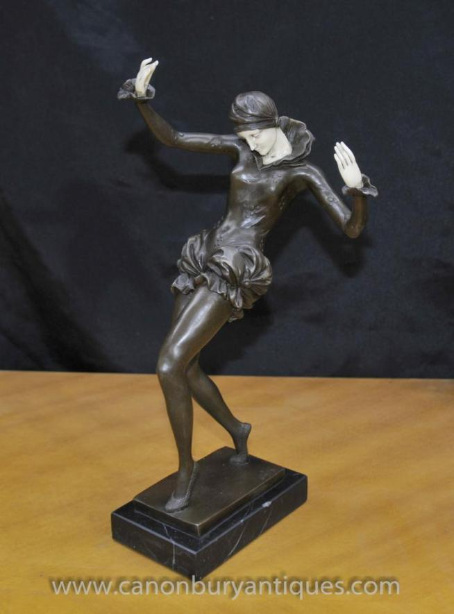 Art Deco Bronze Female Figurine Dancer Signed Nick Harlequin Dancer