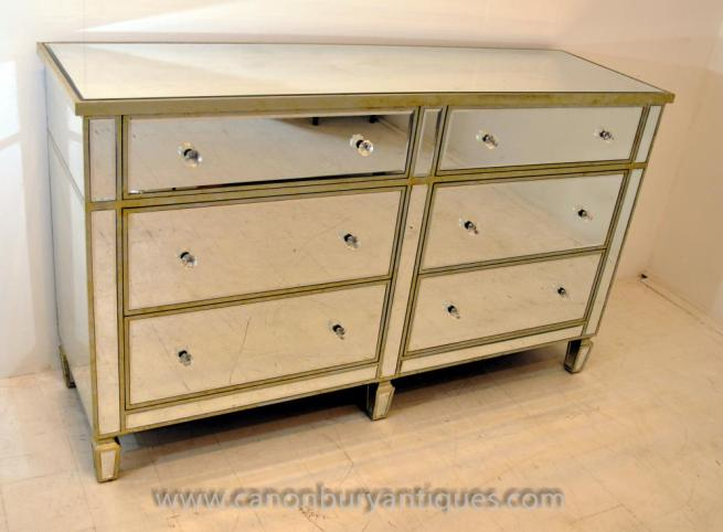 Art Deco Mirrored Double Chest Drawers Commode Furniture