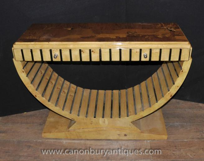 Art Deco Oggee Console Table Blonde Walnut Sofa End Hall Tables