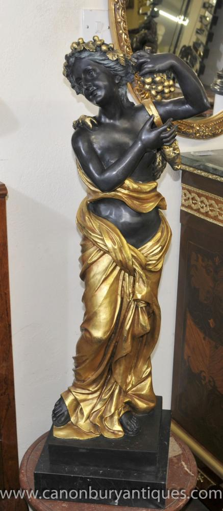 Big Classical Italian Bronze Maiden Signed Perdier Semi Nude