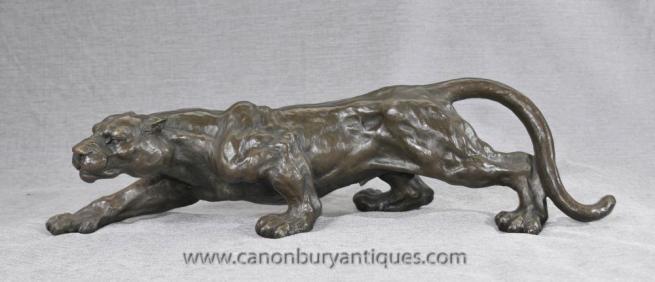 Bronze Prowling Panther Statue Sculpture Casting Cats Puma Tiger