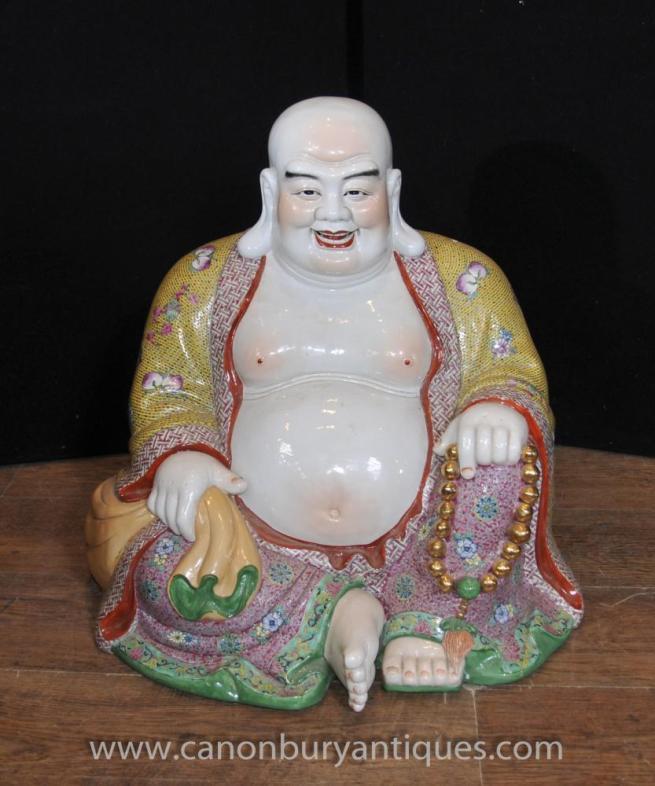 Chinese Famille Rose Porcelain Buddha Statue Happy Buddhas Buddhist
