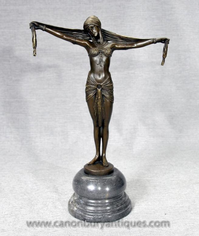 Dh Chiparus French Art Deco Bronze Dancer Figurine 1920s