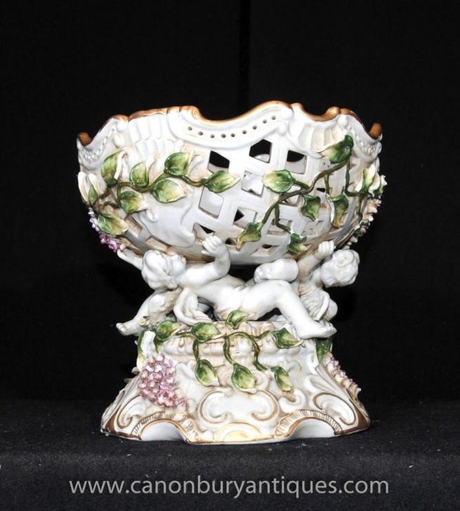 Dresden Porcelain Cherub Floral Bowl Comport Dish Tureen Encrusted