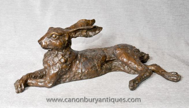 English Bronze Hare Statue Casting Rabbits Animals