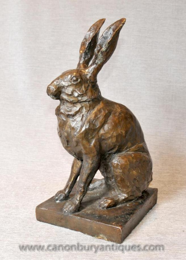 English Bronze Rabbit Statue Bunny Rabbits Hare Countryside Casting