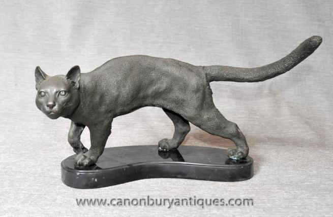 English Bronze Tabby Cat Statue Casting Cats Kitten