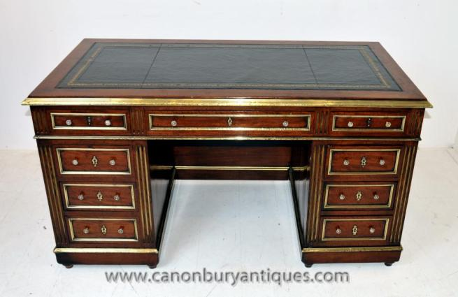 French Antique Empire Writing Table Knee Hole Desk 1880