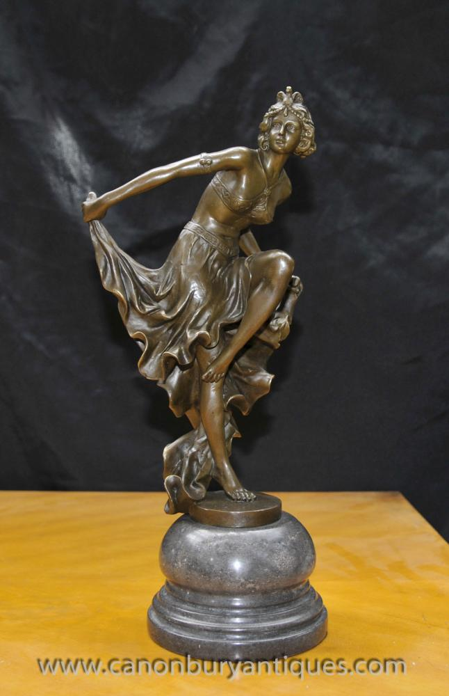 French Art Deco Flapper Dancer Statue Signed A Gory Egyptican Gori