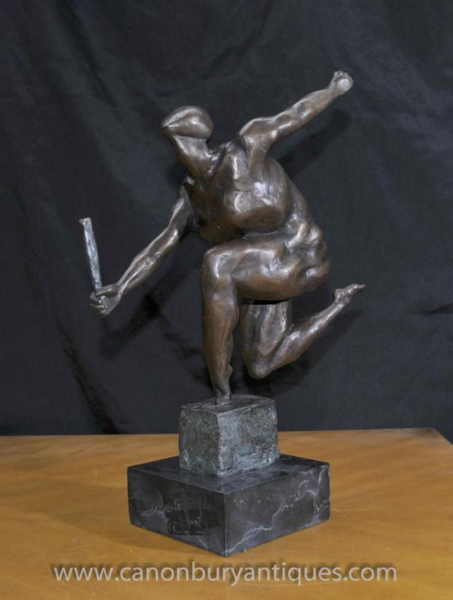 French Bronze Absract Art Cubist Statue Figurine