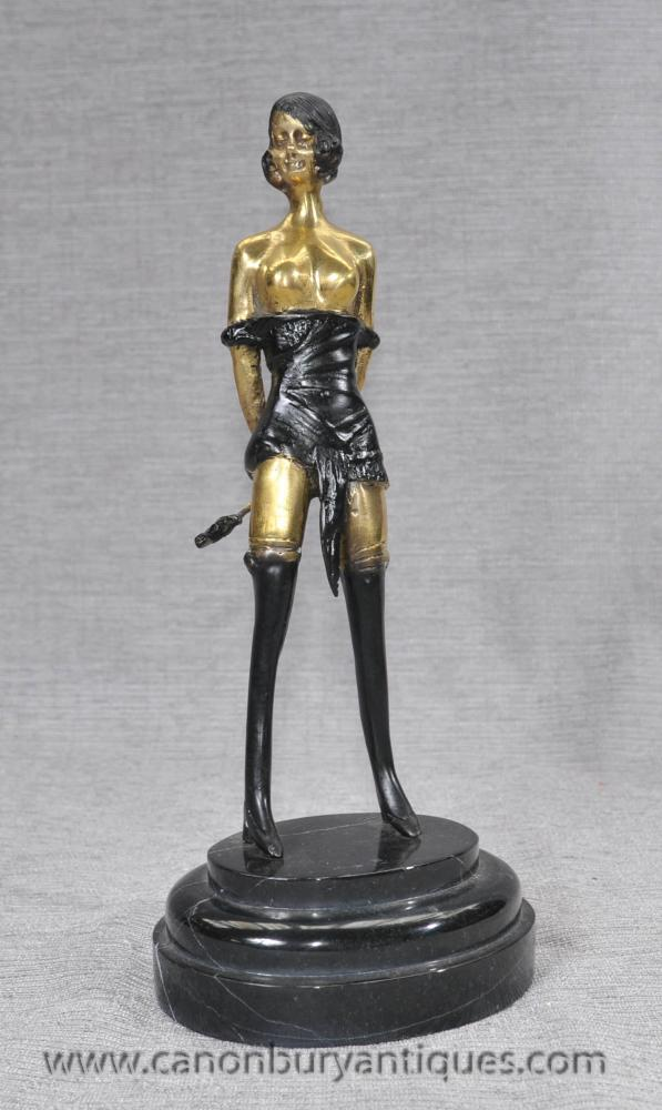 French Bronze Casting Erotic Dominatrix Figurine Whiplash