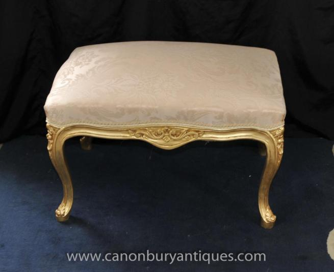 French Louis XV Gilt Stool Seat Foot Stools