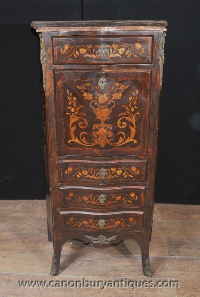 French Louis XVI Secretaire Chest Desk Marquetry Inlay Furniture