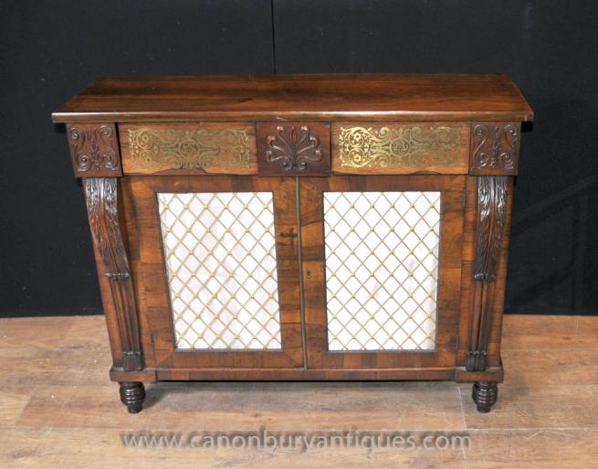 French Regency Chiffonier Sideboard Mahogany Buffet Brass Inlay