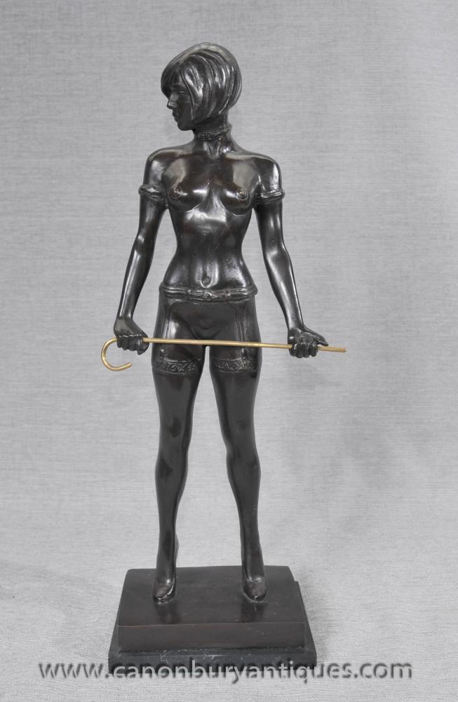 German Bronze Erotic Dominatrix Statue Bruno Zach Nude