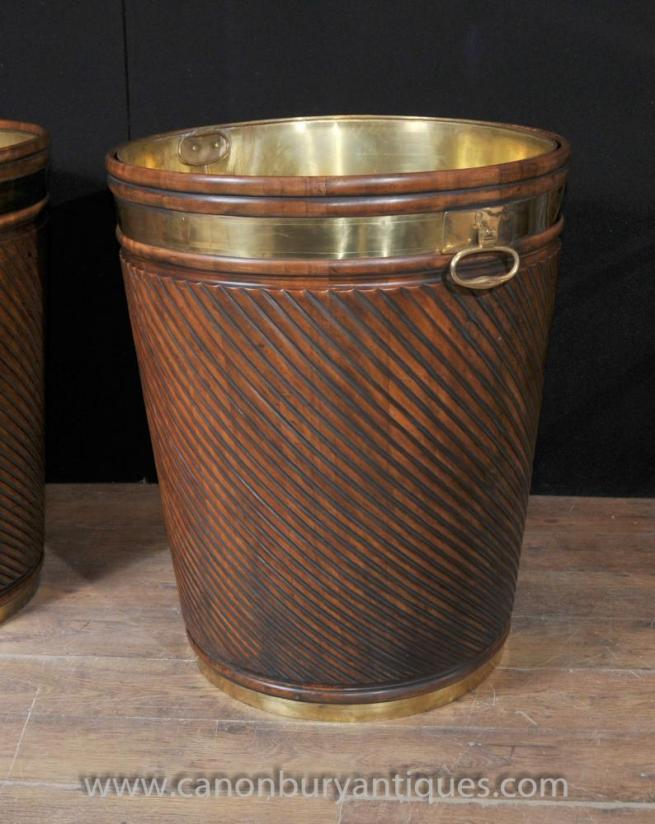 Giant Victorian Peat Bucket Planter Pot Mahogany Brass
