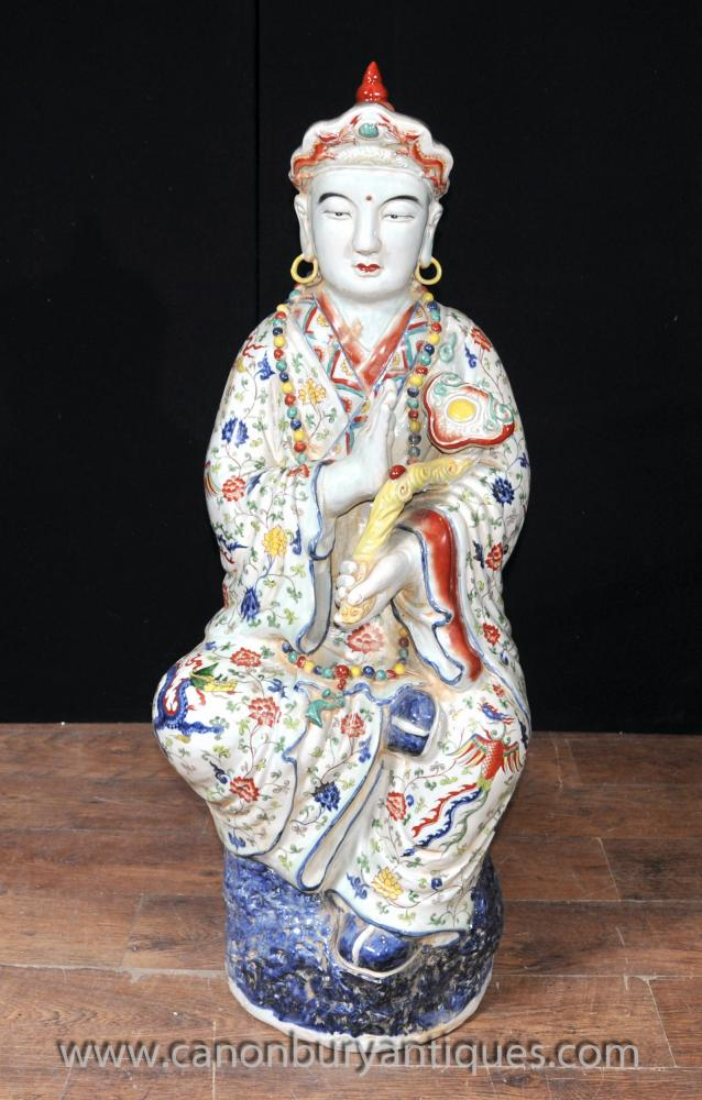 Japanese Satsuma Porcelain Buddha Statue Buddhist Wise Figurine Buddhism
