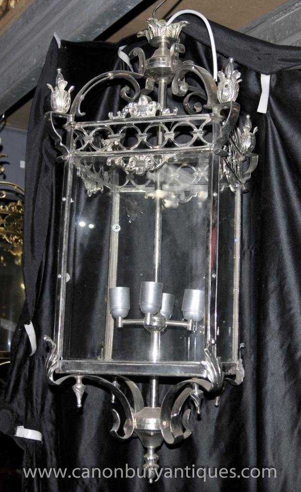 Large French Empire Silver Plate Lantern Light Lamp