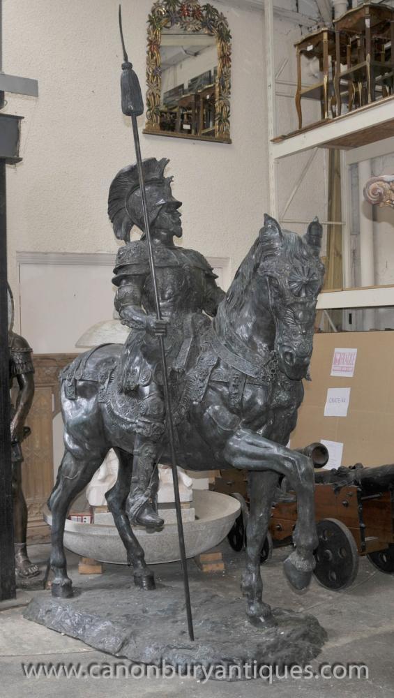 Lifesize Roman Gladiator on Horseback Statue Sculpture Architectural Art