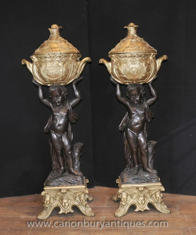 Pair Antique French Bronze Cherub Stands Planters Jardineres Pot Putti Statues