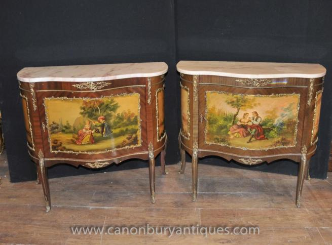 Pair Antique French Vernis Martine Painted Chests Cabinets Lacquer Commodes