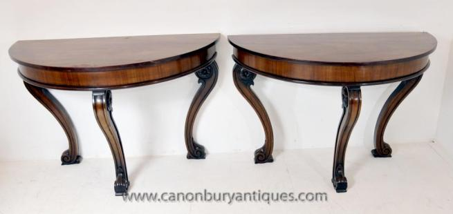 Pair Antique Regency Console Tables Demi Lune Table Mahogany