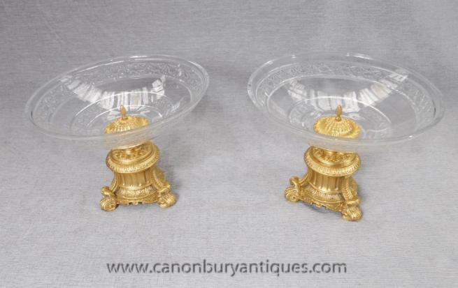 Pair Empire Cut Glass Dishes Comports Ormolu French Tureen