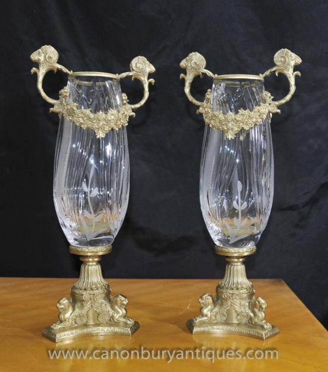 Pair French Empire Cut Glass Vases Urns Ormolu Fixtures