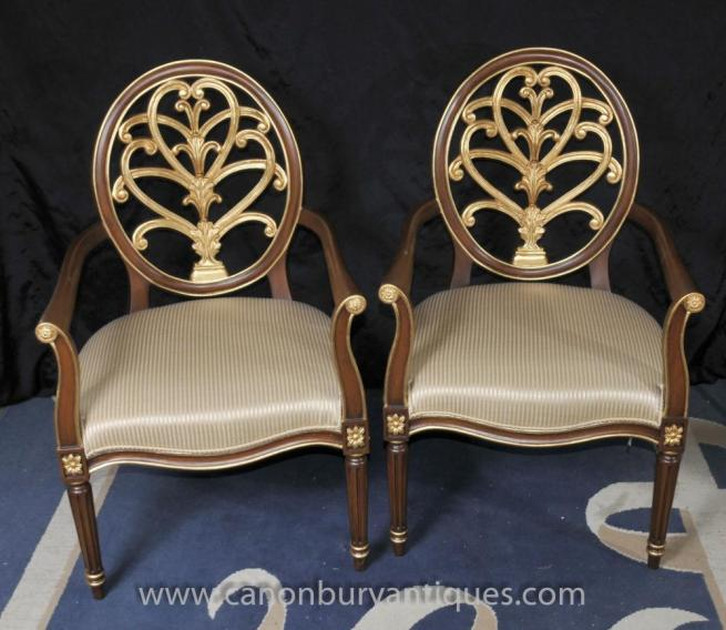 Pair French Empire Gilt Arm Chairs Fauteils Accent Piece