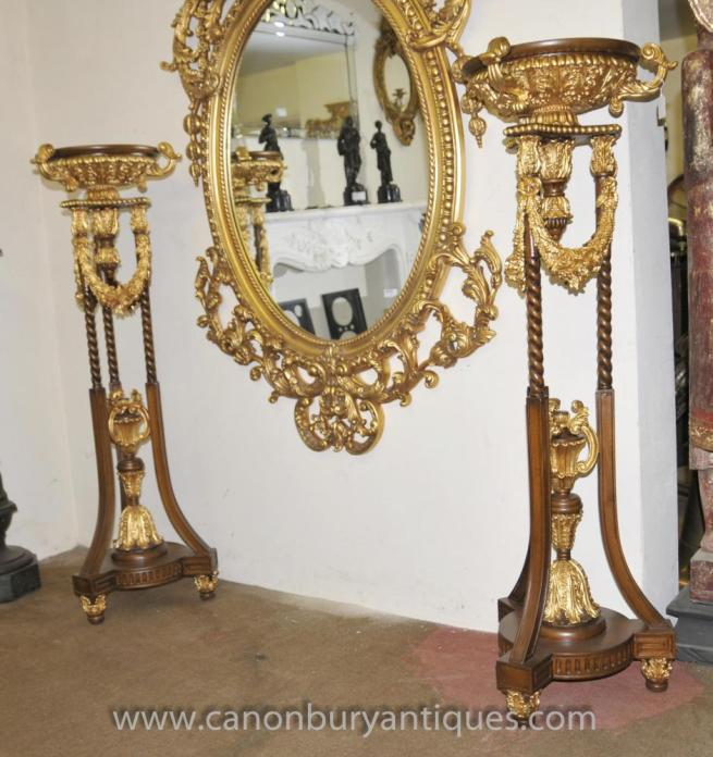 Pair French Louis XVI Gilt Planter Stands Jardinieres Pedestal Tables