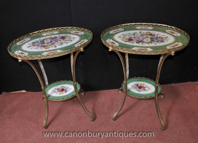 Pair Sevres Porcelain Ormolu Side Cocktail Tables Floral Tops