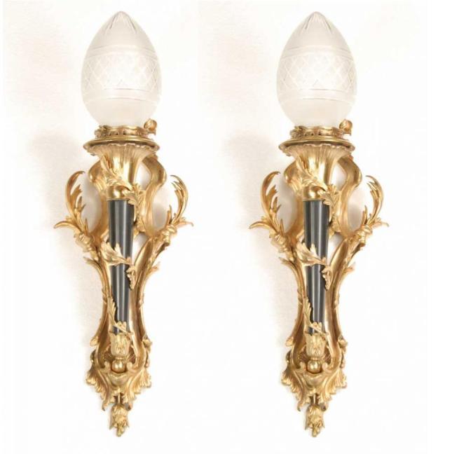 Pair Victorian Ormolu Torch Sconces