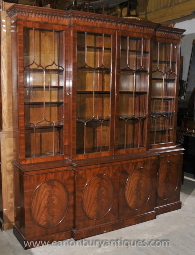 Regency Breakfront Bookcase in Flame Mahogany Bookcases Glass Display Arthur Brett